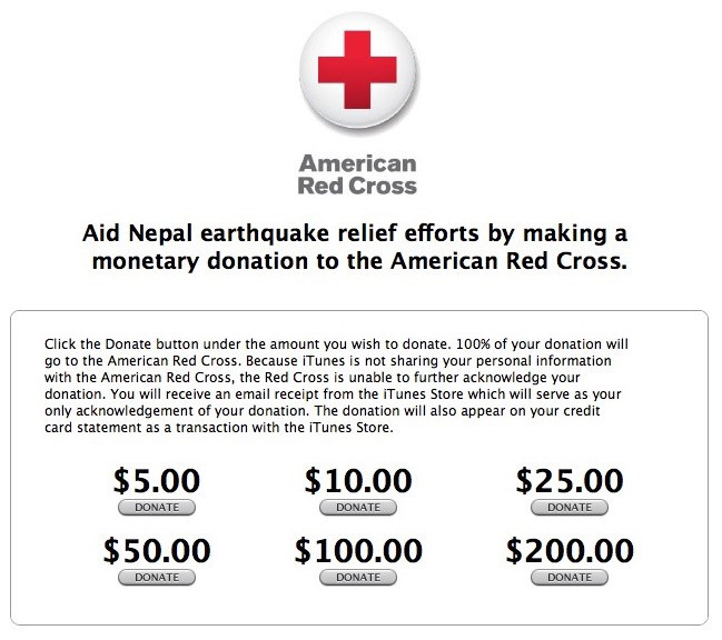iTunes Store Facilitating Donations to Support Nepal Earthquake Relief Efforts