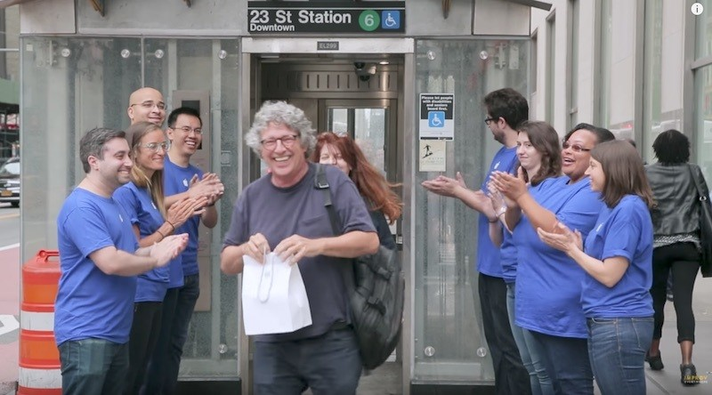 New York City Subway Entrance Turned Into Fake Apple Store With Line for iPhone X