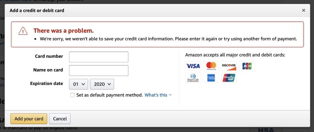 Apple Cards Not Currently Working as Amazon Payment Methods Due to 'Technical Issue'