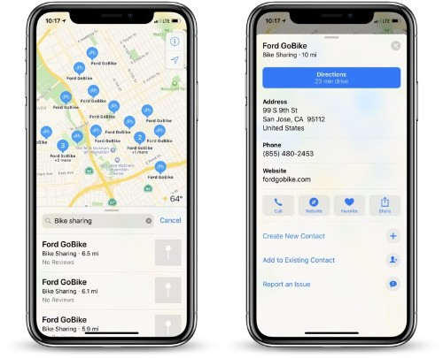 Apple Maps Now Displays Nearby Bike-Sharing Stations in 175 Cities