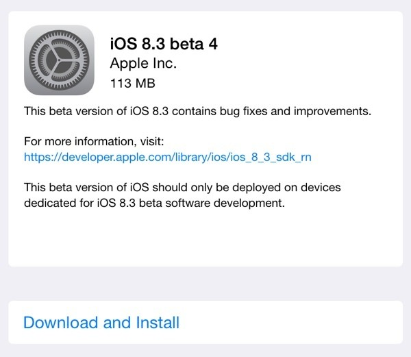 Apple Seeds Fourth iOS 8.3 Beta to Developers, Second Beta to Public Beta Testers