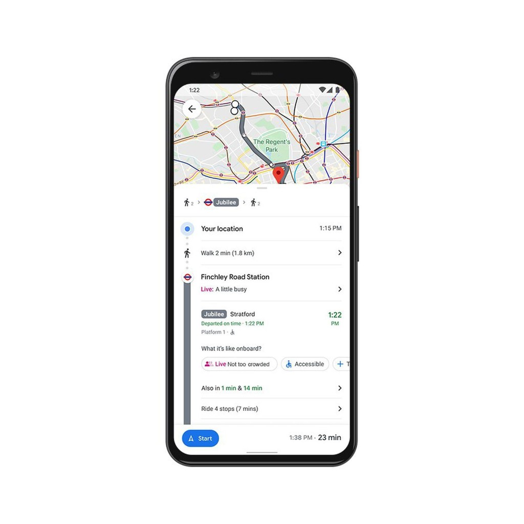 Google Maps Gains Real-Time 'Crowdedness' Transit Data, Live Food Delivery Status, and More
