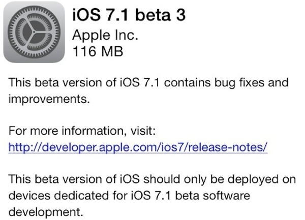 Apple Releases iOS 7.1 Beta 3 to Developers