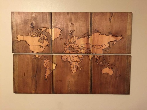 Beautiful Map of the World, Burned Into Scrap Wood | Make: