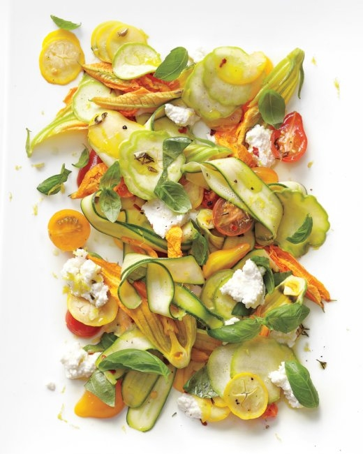 Shaved-Squash Salad with Tomatoes, Zucchini Blossoms, Ricotta, and Thyme Oil