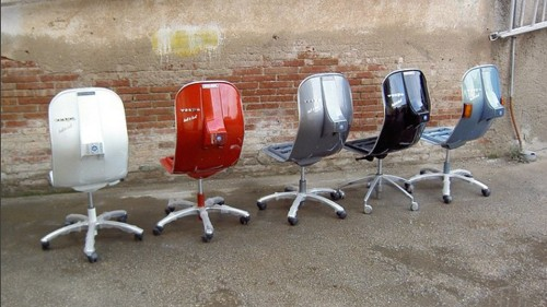 Old Vespas turned into chairs will help you zoom through your workday