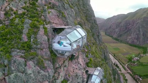 The perfect hotel for thrill seekers hangs 400-feet off the side of a mountain