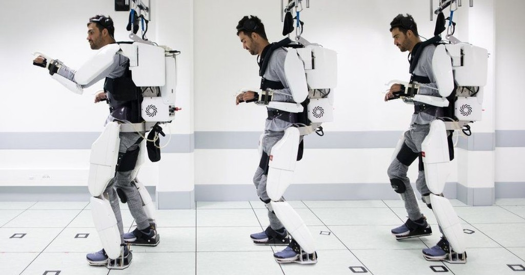 A paralyzed man walked with a brain-controlled exoskeleton