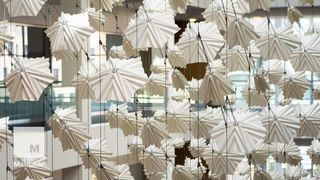 This mesmerizing sculpture moves like a flock of birds