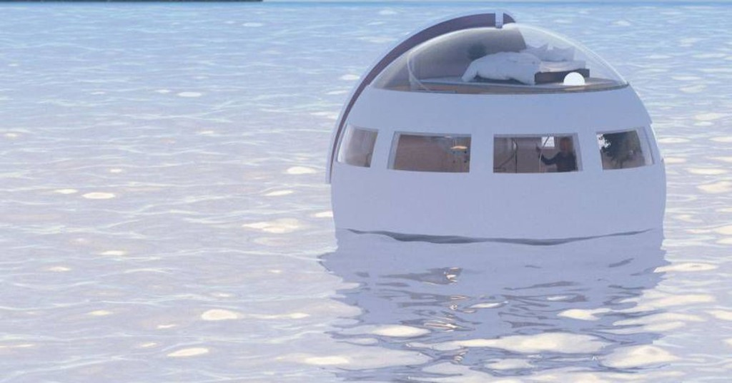 Sleep in a spherical capsule hotel that floats over to a desert island by morning