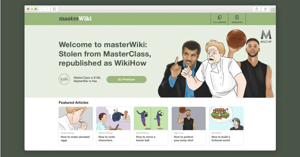 MasterWiki shows stolen, expert MasterClasses in WikiHow form