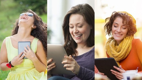 Women Laughing Alone With Tablets are having more fun than you