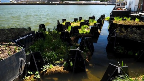 In this European city, plastic waste collected from the rivers is used to create green, floating parks
