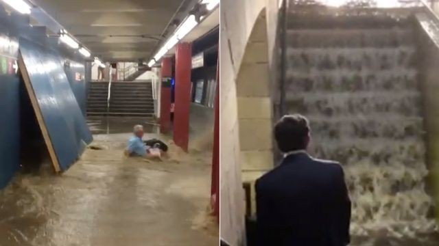Commuter nearly pushed into subway tracks by water rushing into flooded station
