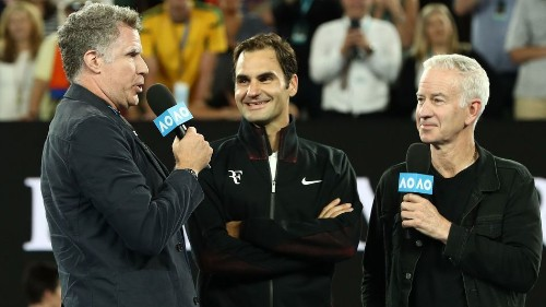 Will Ferrell crashes on-court interview with Roger Federer and asks all the hard-hitting questions