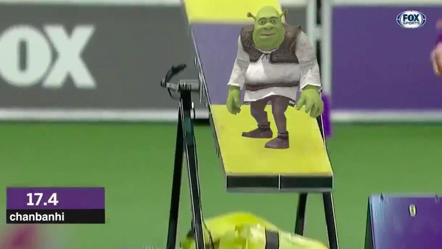 The immense joy of watching Tiny Shrek sprint through an obstacle course