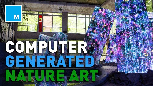 This art installation combines computer generation and nature