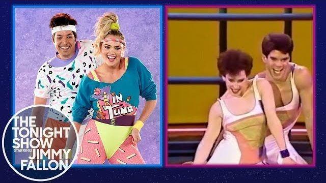 Kate Upton and Jimmy Fallon get sweaty in '80s aerobics dance challenge