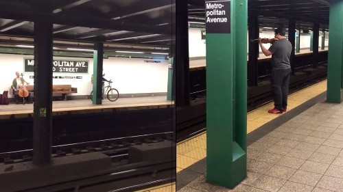 Watch a gorgeous string duet happen across NYC subway tracks