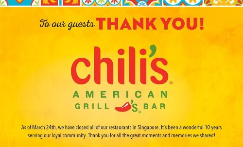 Chili's suddenly shuts down all its stores in Singapore - Culture