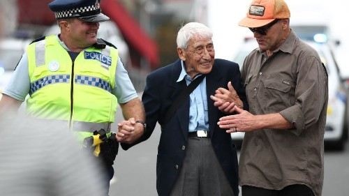 95-year-old man catches four buses to join rally against racism