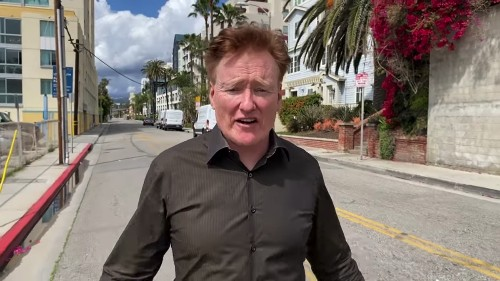 Conan O'Brien reports from an empty street to show you how empty it is. Empty, right?