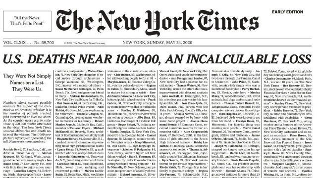 """Coronavirus, il New York Times pubblica i nomi di 1000 vittime: """"Non sono numeri, siamo noi"""""""
