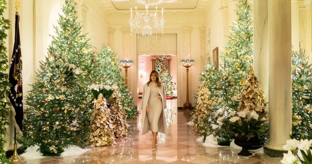 2019: The White House Christmas decorations have arrived and, alas, there are no blood trees