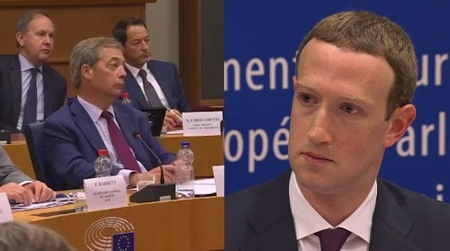 Watch Zuckerberg's face freeze after a far-right politician credited Facebook for Trump's win and Brexit