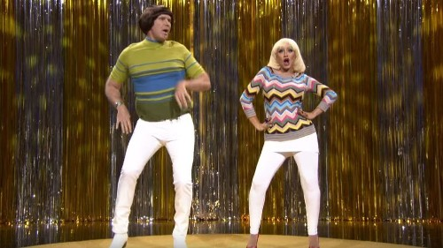 Will Ferrell wears tight pants with Christina Aguilera and Jimmy Fallon