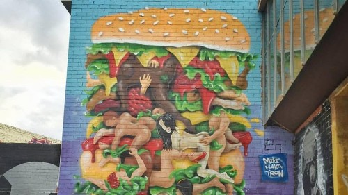 Burger mural filled with cheese and sex too raunchy for neighbourhood