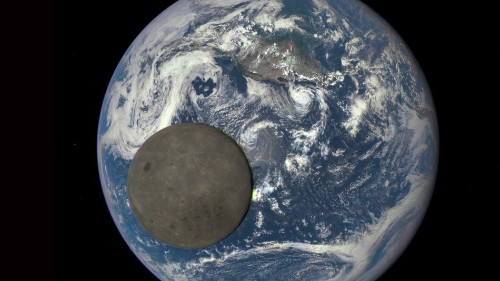 Satellite 1 million miles away captures moon passing over Earth