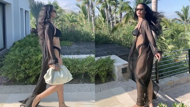 Rihanna strutting in slow motion while smoking a joint is a sight to behold