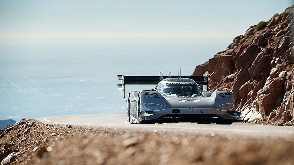 Volkswagen's all-electric race car shatters records on the uphill Pikes Peak