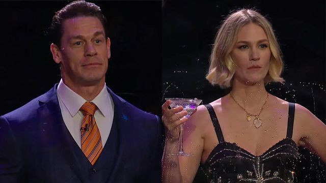 John Cena and January Jones go head-to-head in a brutal flinching game