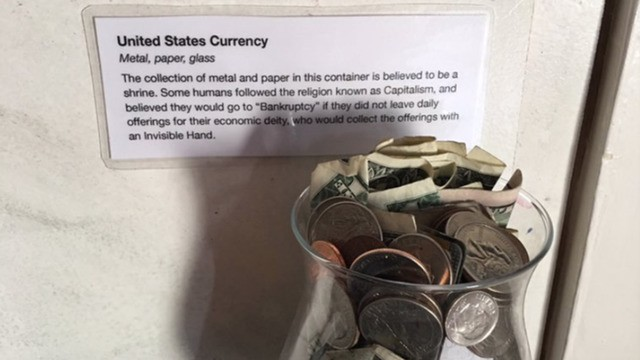 Roommates prank friend by turning their bedroom into a bad museum from the future