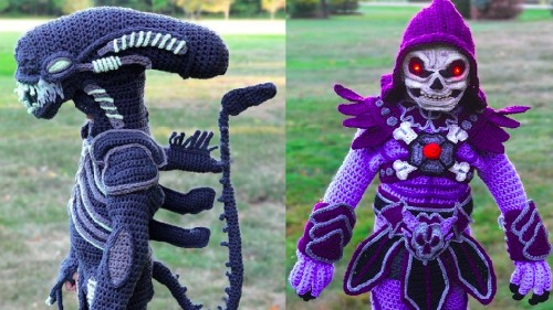 Mom crochets awesome 'Alien' and Skeletor Halloween costumes for her kids