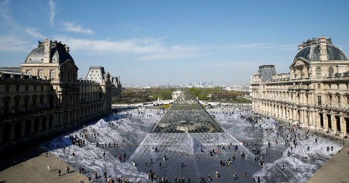 Well, that incredible optical illusion at the Louvre has been destroyed by the public