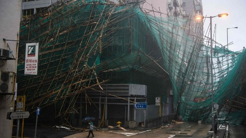 Deadly Typhoon Mangkhut shakes Hong Kong buildings as it moves into China