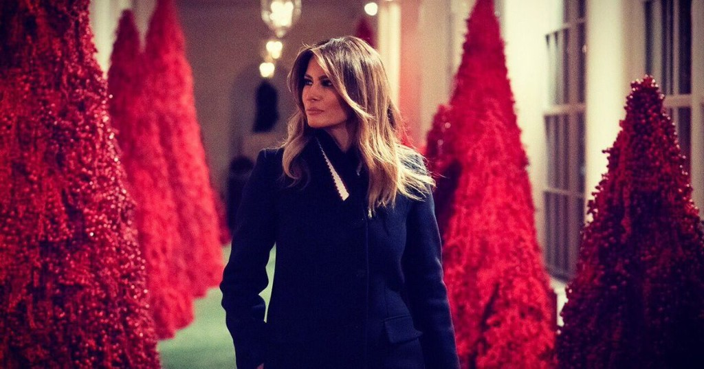 2018: Melania Trump's blood red Christmas decorations have given us the gift of memes