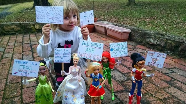 Four-year-old had a Women's March protest with dolls and it's absolutely perfect