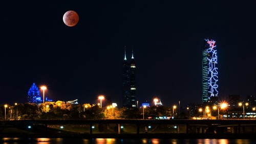 A rare supermoon total lunar eclipse will rise Sunday