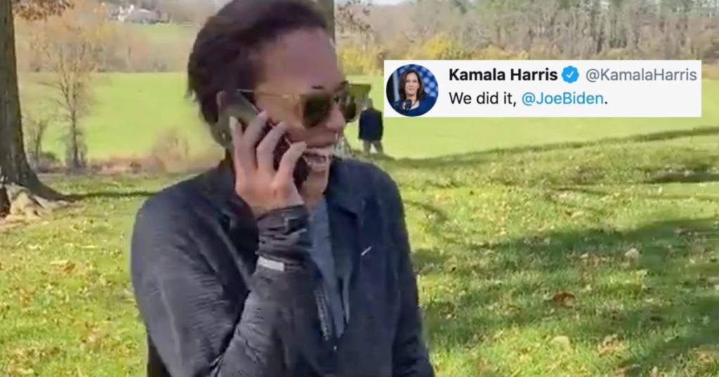 """Watch Kamala Harris call Joe Biden to shout """"We did it"""""""