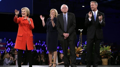 Clinton, Sanders, O'Malley take the stage for Democrats' big night in Iowa