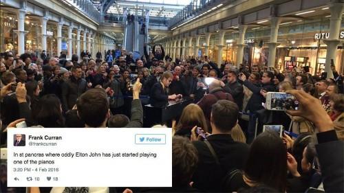 Elton John pops into London train station, plays piano, leaves