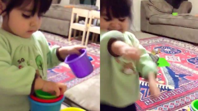 Toddler's reaction to successfully stacking cups was the best thing on the internet this week