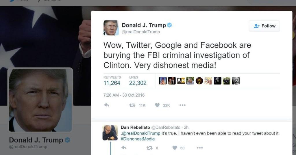 Donald Trump attacks Facebook, Google and Twitter as 'dishonest media'