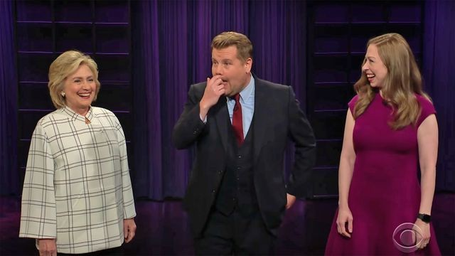 Hillary and Chelsea Clinton interrupt James Corden's monologue to roast Trump