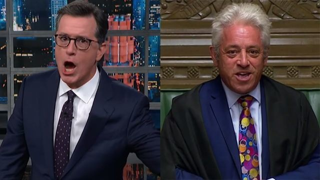 Stephen Colbert's impression of this British politician is absolutely uncanny