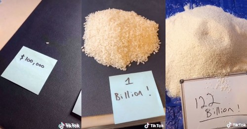 TikTok star meticulously lays out grains of rice to depict Jeff Bezos' obscene wealth